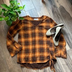 Fall plaid flannel blouse top sz large